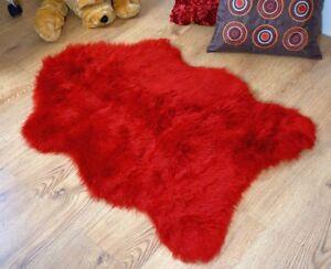 Deep-red-faux-fur-sheepskin-style-rug-100x70cm-washable