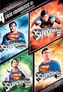 4 Film Favorite - Superman 1 2 3 4 The Movie (DVD, 2008, 2-Disc Set) NEW