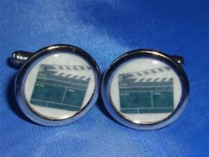 CLAPPERBOARD DIRECTORS NEW CHROME FINISH CUFFLINKS