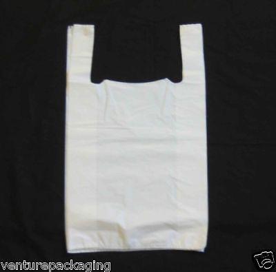 2000 x (Med) White Plastic Vest Carrier Bags (10x15x18)