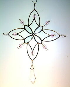 Pink-SnowFlake-with-crystal-stained-glass-sun-catcher