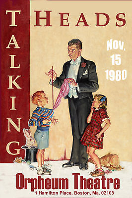 1980's Rock: Talking Heads at  Boston Orpheum Concert Poster 1980