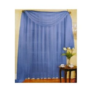 sheer voile 216 quot window scarf blue ebay