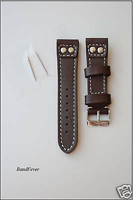 24MM DARK BROWN GENUINE LEATHER WATCH BAND,STRAP PILOT STYLE 2 Solid Buttons