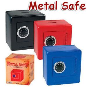 Metal safe bank piggy bank w combination lock cash box ebay for How to open a tin piggy bank