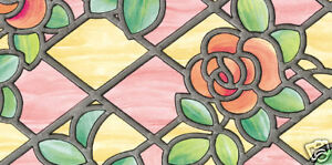 ROSE PINK STAINED GLASS  WINDOW COVERING STICKY BACK PLASTIC VINYL FILM  1.5mtr