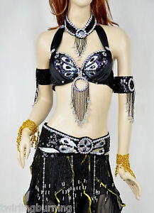 Belly Dance Bra+Belt+Necklace+Armlets Beaded Set/Outfit