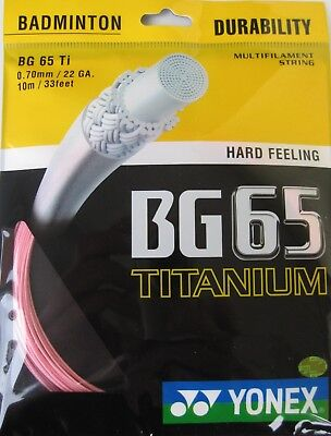 Genuine Yonex BG65 Ti Badminton String BG 65Ti - 10m - Pink - Free UK P&P