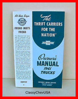 Repro Owners Manual For 1941 Chevy art Deco Trucks All Models Except Coe