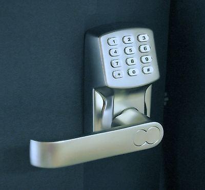 ELECTRONIC KEYLESS DOOR LOCK SET - SATIN NICKEL (FOR LEFT-HINGED DOORS ONLY)