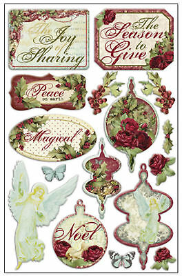 Night Divine (16) 3-d Epoxy Stickers Scrapbooking Holiday Christmas Season