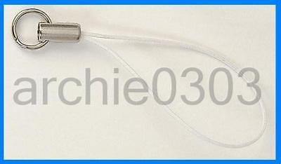 100 White Mobile Phone Charm Cord Lariat 8mm Split Ring