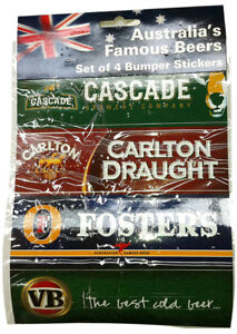 VICTORIA-BITTER-FOSTERS-LAGER-CARLTON-DRAUGHT-CASCADE-FOUR-BUMPER-STICKER-PACK