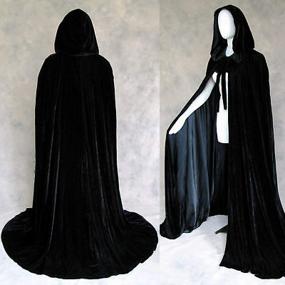 50 in Lined Black Velvet Cloak Cape Wedding Wicca LOTR on Rummage