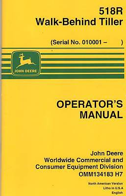 John Deere 518r Walk Behind Tiller Operators Manual