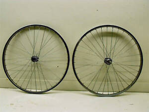 PAIR OF EARLY STEEL CHROME 26 x 1.75 MOUNTAIN BIKE WHEELS (ONE FRONT+ONE REAR)