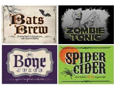 4 Fun Halloween Pop Soda Labels Spider Bats Zombie Cool