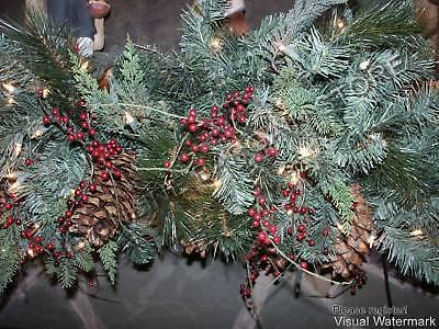 Frontgate Estate Mantel Christmas Door teardrop Swag garland greenery 5' 45726
