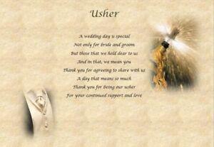 Image Is Loading USHER GROOMSMAN Personalised Wedding Poem Laminated Gift