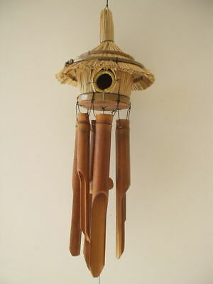 Bamboo Wind Chimes Tiki Thatch Bird House FREE SHIP