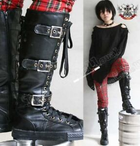 ROCK-STAR-EMO-BUCKLE-UP-knee-hi-boots-4-4-5-LEATHER-35