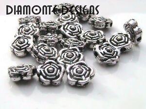 50-x-6mm-Tibetan-Silver-Rose-Flower-Spacer-Beads-H187