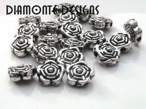 50-x-6mm-Tibetan-Silver-Rose-Flower-Spacer-Beads-H187