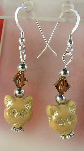 Handmade Crystal & Glass Cat Earrings CAT RESCUE