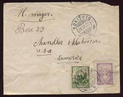 LITHUANIA 1928 COVER 50c +10c FRANKING to USA OKLAHOMA