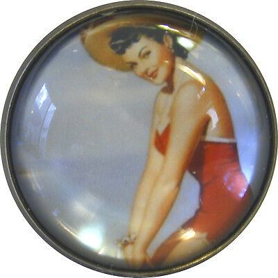 1  Crystal Dome Button 1940s Pin-up Girl 4