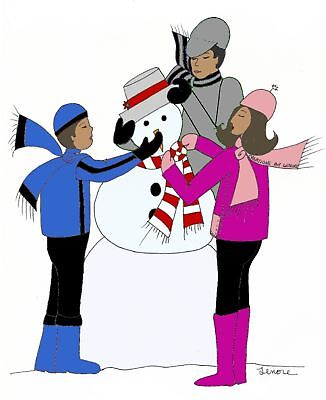 African American Family Snowman Christmas Holiday Cards