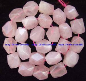13x18mm Natural Rose Quartz freeform faceted Beads 15''