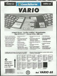 LIGHTHOUSE VARIO 6 STRIP BLACK STAMP ALBUM STOCK SHEETS Pack of 5. Strips 39mm