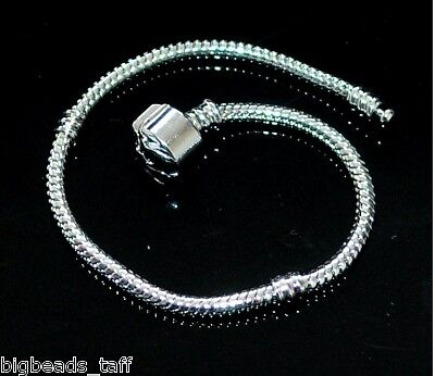 A rhodium plated European snake bracelet chain fit charms 16cm