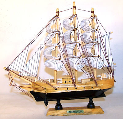 Wooden Sail Ship 9 In Boat Wood Ships Decor Wind Sails Pirate Decoration Boats