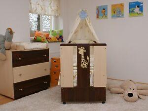 Paula-Set-Bett-amp-Kommode-Babybett-Kinderbett-Wickelkommode-Komplettset-12-Teile