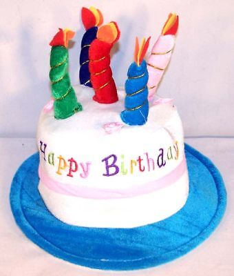 Happy Birthday Cake Blue Party Hat Cap Candle Supplies Weird Fun Headwear