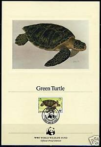 WORLD WILDLIFE FUND ANGUILLA TURTLE '83 PROOF CARD