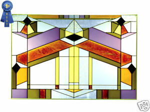 20x14 DECO-TECTURAL Geometric Stained Art Glass Window Suncatcher