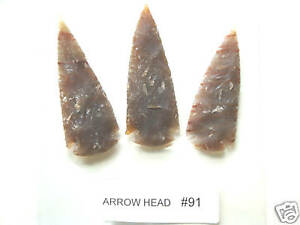 3 Matching Modern Hand Knapped Flint Stone ArrowHeads - Arrow Heads