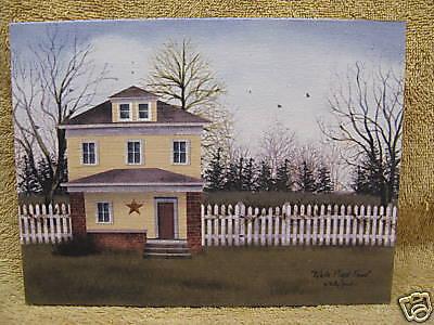 White Picket Fence House Canvas Picture Decor Paint