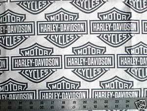 biker white harley davidson bar and shield logo quilt fabric 60