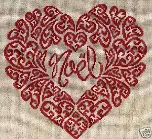 Grille point de croix coeur de no l r f 4013 ebay - Grilles point de croix gratuites noel ...