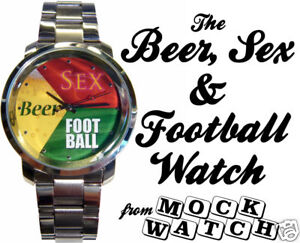 NEW-MOCKWATCH-Beer-Sex-amp-Football-WATCH-cool-mens-gadget-lads-gift-75-OFF-SALE