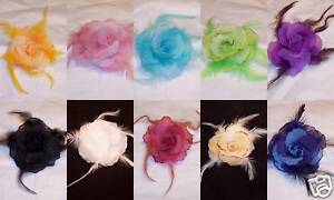 3-034-Feather-Flower-Rose-Lapel-Pin-Brooch-Corsage-Set-NEW