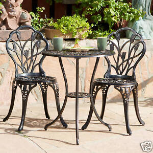 Outdoor Patio Furniture Tulip Design Cast Aluminum Bistro Set in Antique Copper