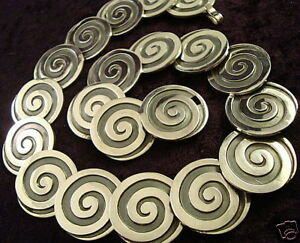 VINTAGE-DESIGN-MELESIO-RODRIGUEZ-TAXCO-MEXICAN-950-SILVER-SWIRL-NECKLACE-MEXICO