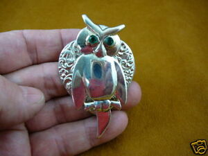 B-BIRD-500-Owl-bird-silver-pin-heart-lover-love-owls-green-eyes