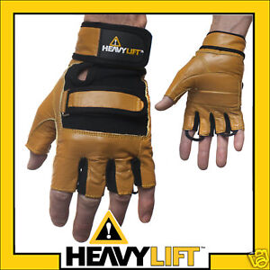 Wrist Wrap Gel Grip Leather Weight Lifting Gloves M