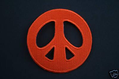 ECUSSON Brodé - PATCH Thermocollant - PEACE AND LOVE / 7cm / ORANGE / PATCHE